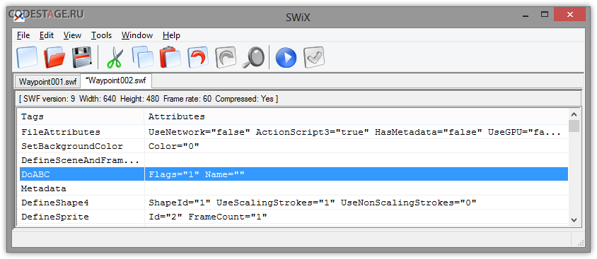 Editing SWF in SWiX