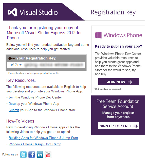 VS 2012 Express Key